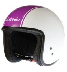 Casco Woodex Easy Stripes bianco perla e fucsia