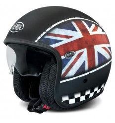 Casco Premier Jet Vintage grafica Flag UK nero opaco