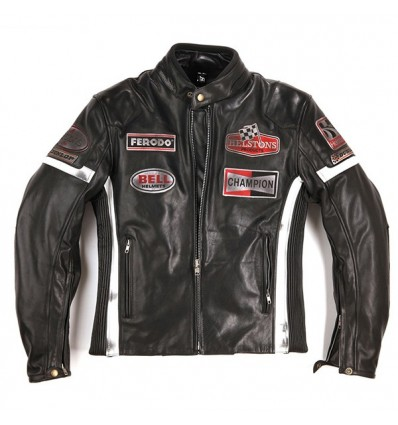 Giacca da moto in pelle Helstons GT Seven nera con patches