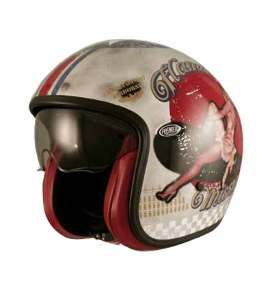 Casco Premier Jet Vintage grafica Pin Up Old Style Silver