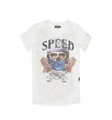 T-Shirt collo a V Rude Riders da uomo Star White con stampa