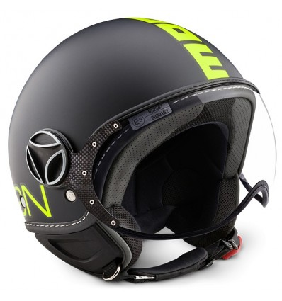 Casco Momo Design Fighter Fluo nero opaco e giallo