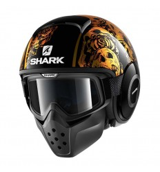 Casco Shark Drak grafica Sanctus nero e arancio