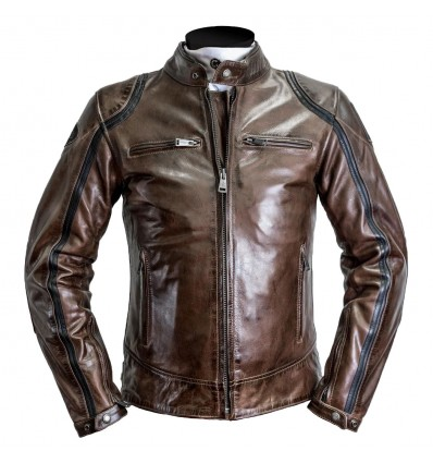 official photos acae5 95bbe Giacca da moto in pelle Helstons Modelo marrone e nera