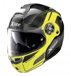 Casco X-Lite apribile X-1004 Ultra Carbon Charismatic N-Com nero e giallo